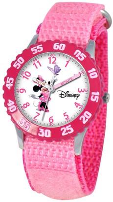 Disney Girl' Diney Minnie Moue tainle teel Time Teacher with Bezel - Pink