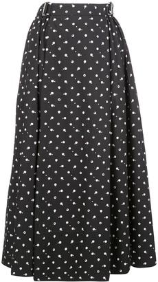 Rosetta Getty Dot-Print Belted Midi Skirt