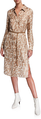 Lafayette 148 New York Painted Leopard Long-Sleeve Silk Shirtdress w/ Leather Belt