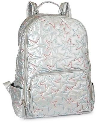 Bari Lynn Multicolor Star-Embroidered Metallic Backpack