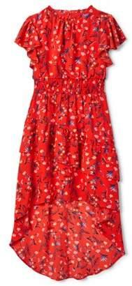 My Michelle Flutter Sleeve Smocked Waist Hi Low Maxi Dress (Big Girls)