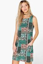 Boohoo Parminda Patchwork Sleeveless Shift Dress