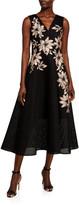 Rickie Freeman For Teri Jon Floral Embroidered V-Neck Sleeveless Tulle Dress