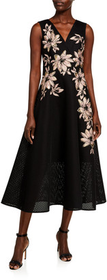 Rickie Freeman For Teri Jon Floral Embroidered V-Neck Sleeveless Tulle Dress