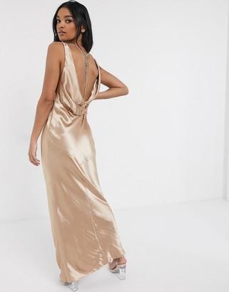 Asos Design DESIGN cowl back bias cut maxi dress with diamonte back detail-Pink