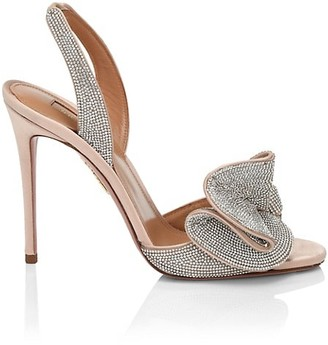 Aquazzura Cherry Crystal-Embellished Satin Slingback Sandals