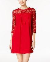 As U Wish Juniors' Lace-Trim Shift Dress