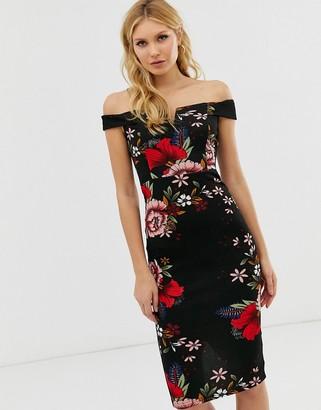 AX Paris bardot midi dress in all over floral print