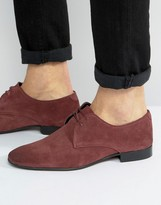 Asos Derby Shoes In Purple Suede