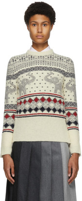 Thom Browne White Wool and Mohair Elephant Icon Fair Isle Sweater