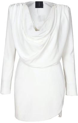 Rue Agthonis White Velvet Draped Irregular Hem Dress