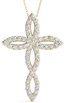 14KT 0.50 CT Modern Style Diamond Cross Pendant Necklace Amcor Design