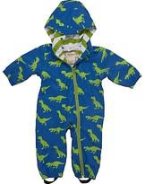 Hatley Baby T-Rex Dinosaur Waterproof Pramsuit, Blue/Green