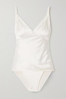 RtA Livia Silk-satin And Stretch-tulle Bodysuit - White