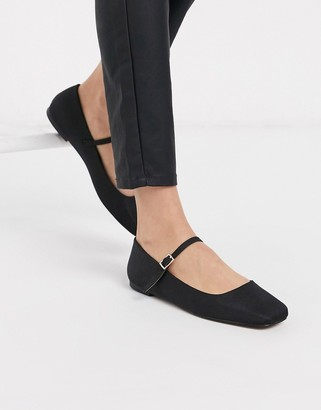 ASOS DESIGN Late mary jane ballet flats in black