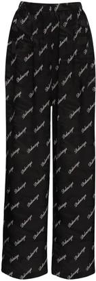 Balenciaga Logo Script Jacquard Silk Wide Leg Pants