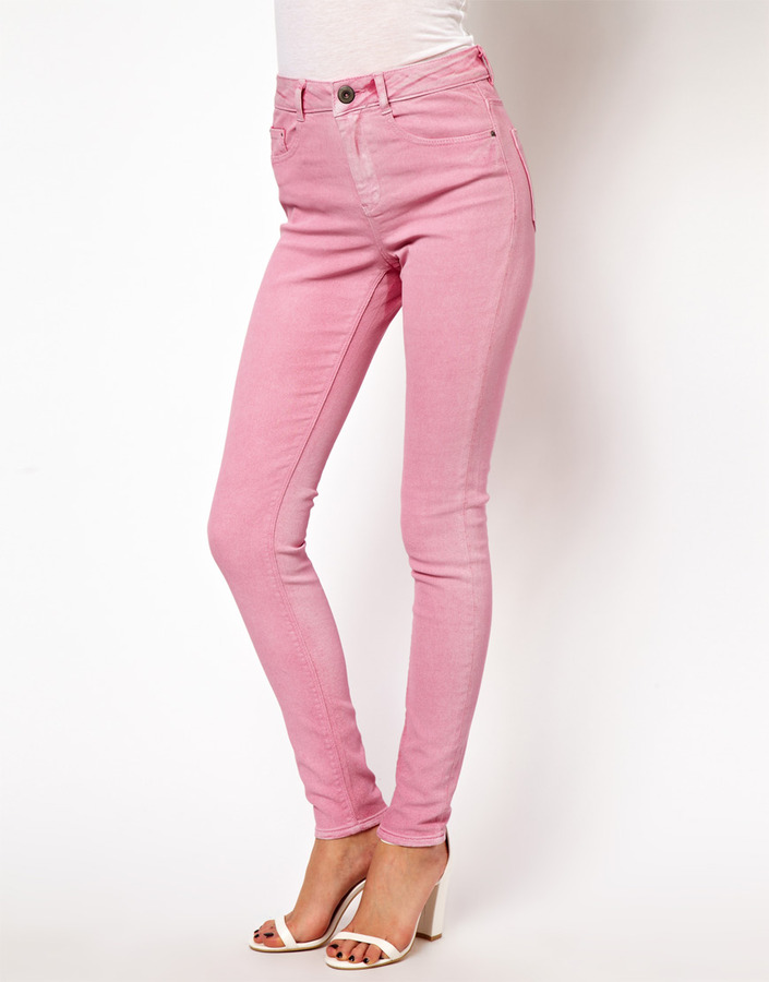 Asos Ridley Supersoft High Waisted Ultra Skinny Jeans in Washed Fushia