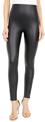 Yummie Signature Waistband Faux Leather Leggings with Zipper (Black) Women's Casual Pants