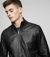 Reiss Mars - Leather Bomber Jacket in Black, Mens