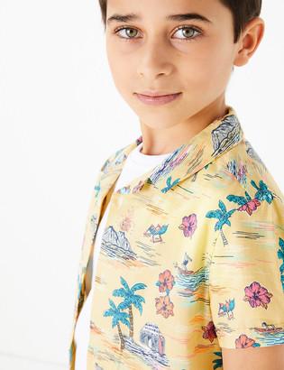 Marks and Spencer Pure Cotton Hawaiian Print Shirt (6-16 Yrs)