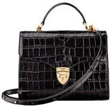 Aspinal of London Mayfair Bag In Deep Shine Black Croc
