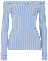 Altuzarra Tatum Off-the-shoulder Fil Coupé Ribbed-knit Top - Light blue