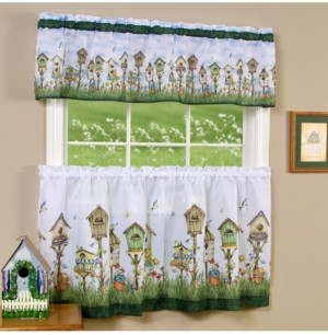 Achim Home Sweet Home Tier and Valance Window Curtain Set, 58x24