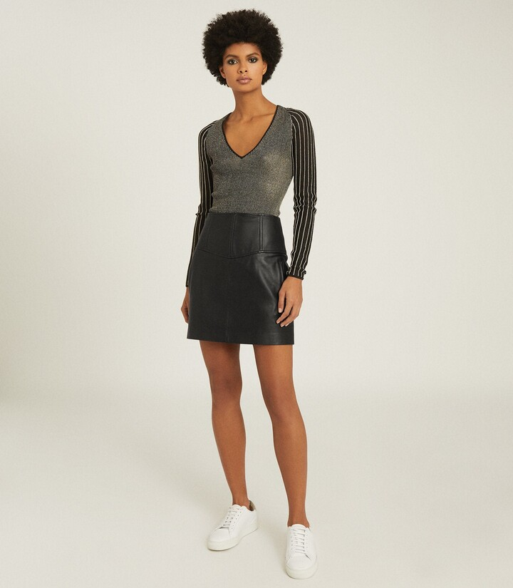 Thumbnail for your product : Reiss Farleigh - Leather Mini Skirt in Black