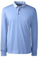 Classic Men's Woven Collar Supima Interlock Polo Shirt-Regiment Navy