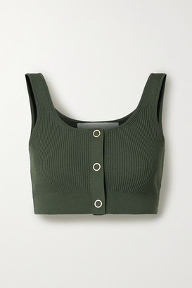 Dion Lee Pinnacle Cropped Ribbed-knit Top - Army green