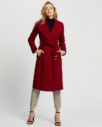 Dorothy Perkins Women's Red Winter Coats - Glossy Funnel Collar Belted Coat - Size 10 at The Iconic