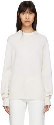 Helmut Lang Off-White Cashmere Crewneck Sweater