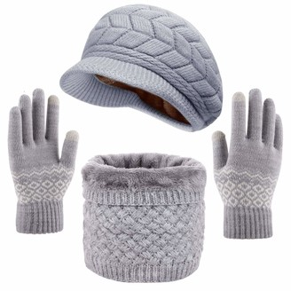 Yutdeng Women Beanie Hat Scarf Gloves Set 3 in 1 Winter Knitted Hat Scarf Touch Screen Gloves Winter Warm Loop Scarf Thicken Glove Fleece Lining Soft Knitted Hat For Outdoor Ski