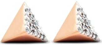 Pompeii3 14K Rose Gold Diamond Pave Spike Cube Studs Dainty High Polished 7MM