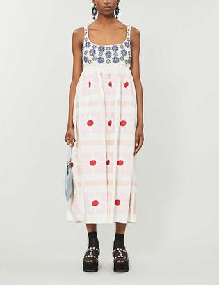 Miu Miu Jewelled floral-embellishment cotton-poplin gown