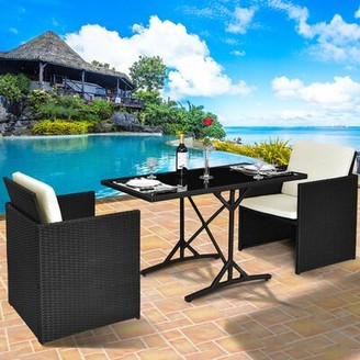Mingenew Patio 3 Piece Rattan Seating Group with Cushions Ebern Designs