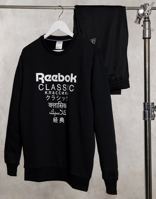 Reebok Classics crew neck sweatshirt in black