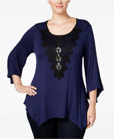 NY Collection Plus Size Lace-Trim Top, Only at Macy's