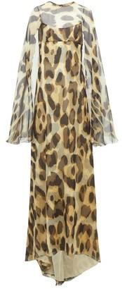 Julie De Libran - Alexia Cape-sleeve Leopard-print Silk Gown - Animal