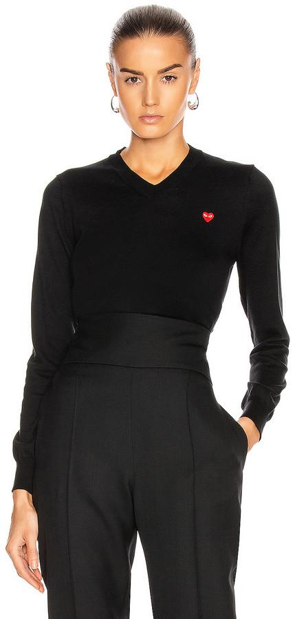 Comme des Garcons Small Emblem V Neck Sweater in Black | FWRD