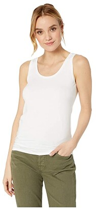 Majestic Filatures Soft Touch Flat-Edge Scoop Neck Tank Top (Blanc) Women's Sleeveless