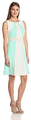 Sandra Darren Women's 1 Pc Sleeveless Crepe & Lace Fit & Flare Dress
