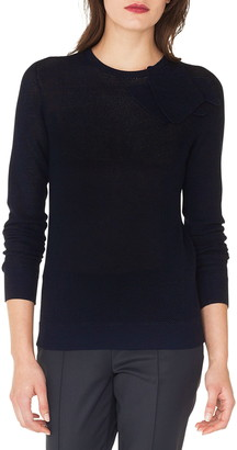 Akris Floral Applique Long Sleeve Sweater
