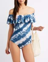 Charlotte Russe Tie-Dye Strapless Ruffle One-Piece Swimsuit