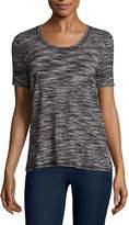Liz Claiborne Short Sleeve Draped Neck T-Shirt-Womens