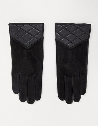 Barneys New York real suede gloves with quilting in black