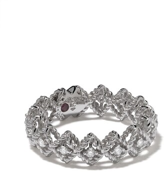 Roberto Coin 18kt white gold Roman Barocco diamond and ruby ring