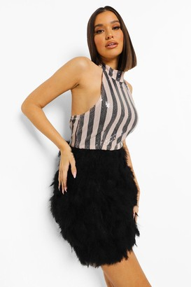 boohoo Stripe Sequin Feather Skirt Mini Dress