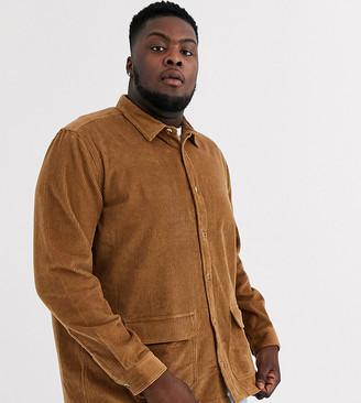 ASOS DESIGN Plus cord overshirt in tan