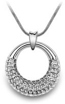 Coach Women's Beautiful Water Wave Necklace w/ Silver Moon Crystal Pendant (Clear Crystal)